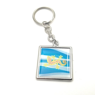 Metal keychain square 27x27mm two-sided