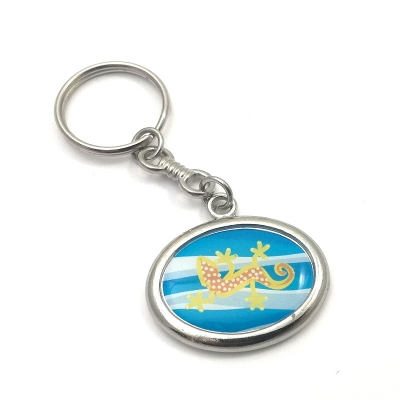 Metal keychain horizontal ellipse 28x21mm two sided