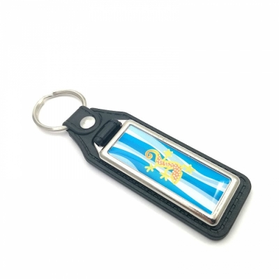 Eco-leather keychain rectangle 44x16mm one-sided