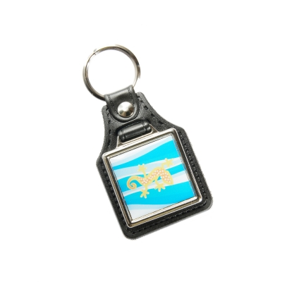 Eco-leather keychain square 27x27mm one-sided
