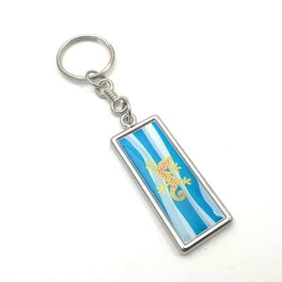Metal keychain rectangle 44x16mm two-sided