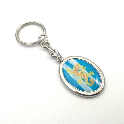 Metal keychain vertical ellipse 21x28mm two sided