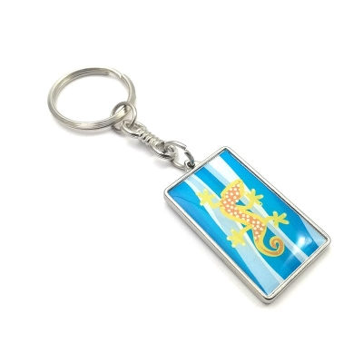 Metal keychain rectangle 32x19mm two-sided