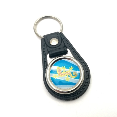 Eco-leather keychain round 20mm one-sided
